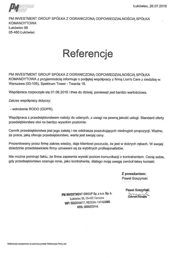 Referencje lionscare - pm